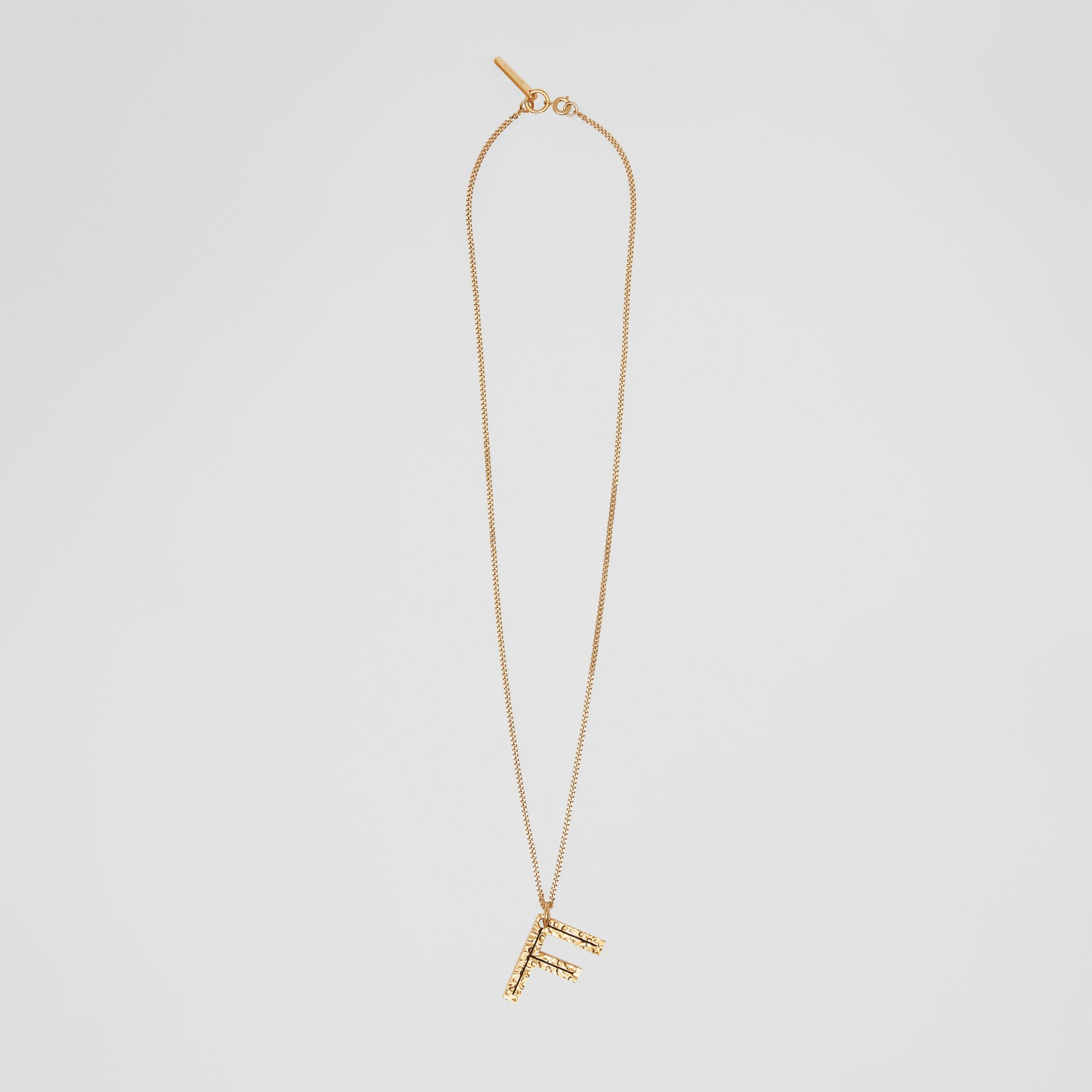 'F' Alphabet Charm Gold-plated Necklace in Light - Women | Burberry United Kingdom - gallery image 0