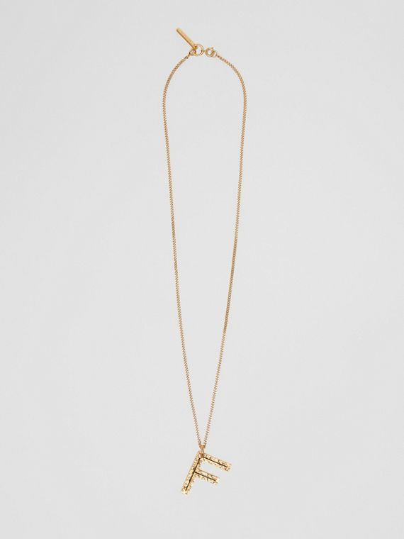 'F' Alphabet Charm Gold-plated Necklace in Light