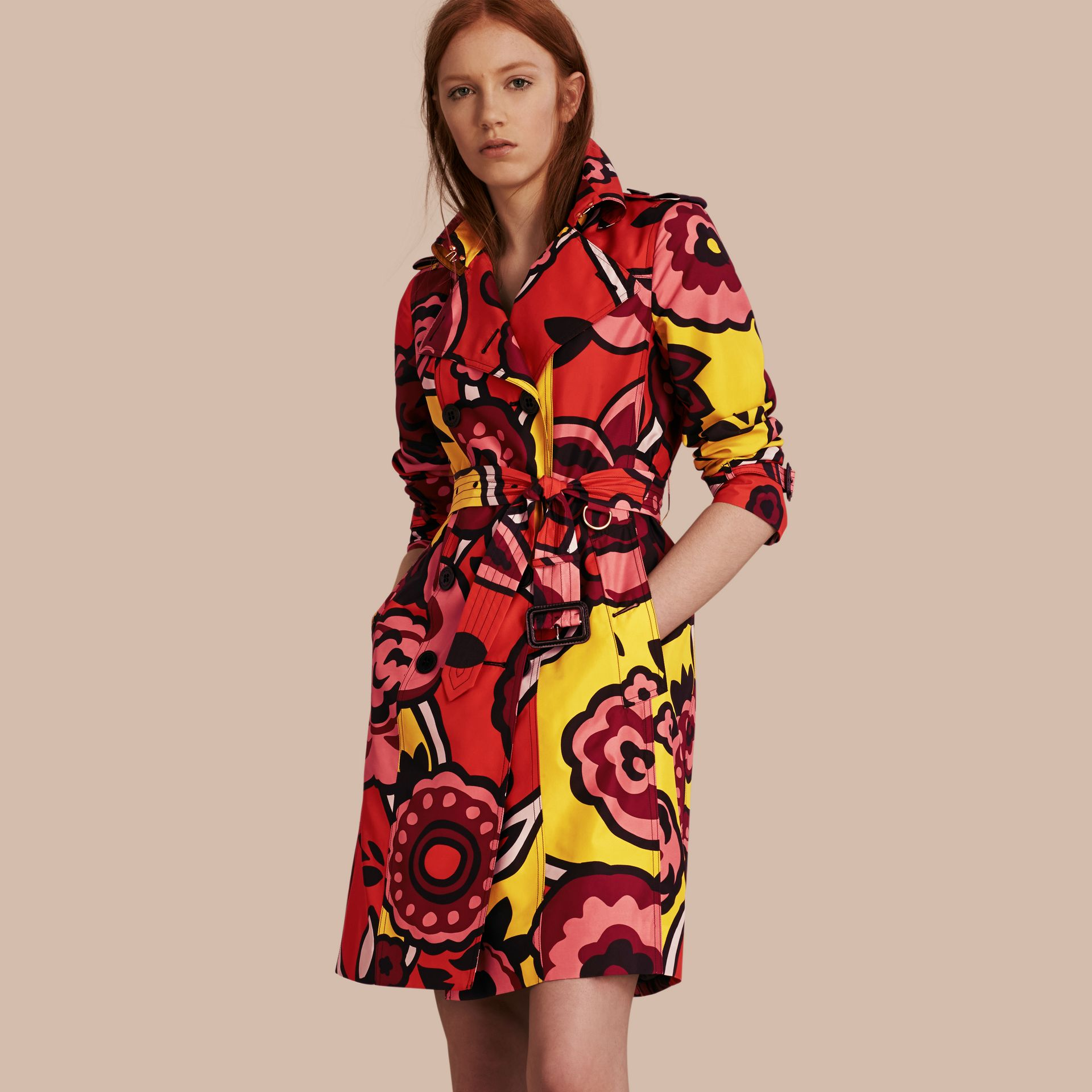 Vibrant orange Floral Print Silk Trench Coat - gallery image 1