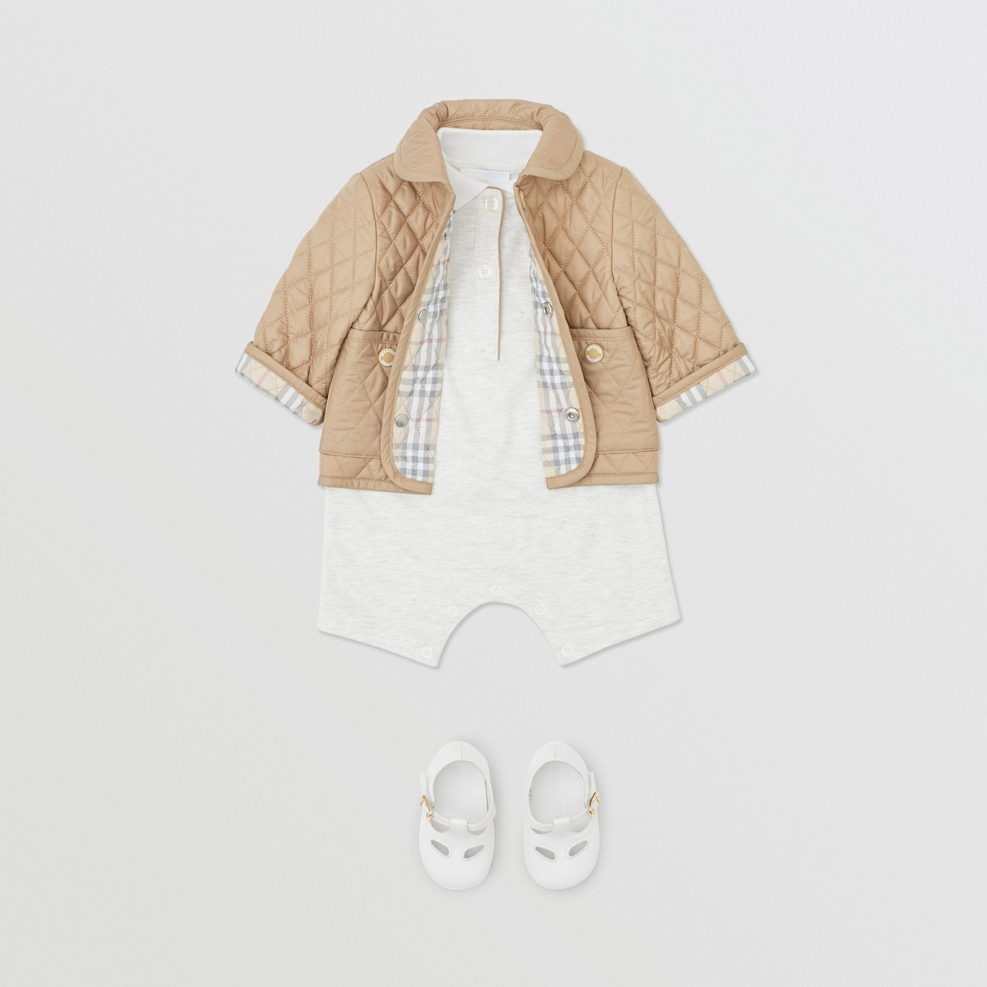 Showerproof Diamond Quilted Jacket in Walnut - Children | Burberry Hong Kong S.A.R - gallery image 3