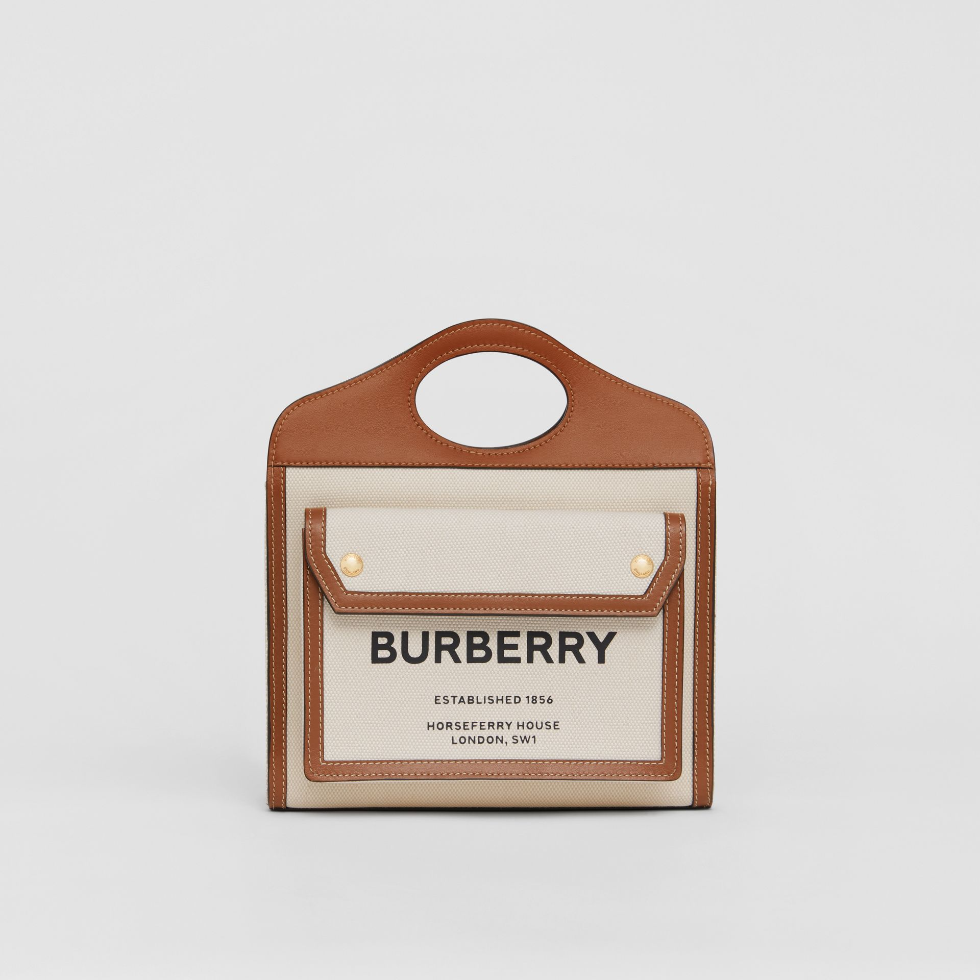Borsa Pocket mini bicolore in tela e pelle (Naturale/marrone Malto) - Donna | Burberry - immagine della galleria 0
