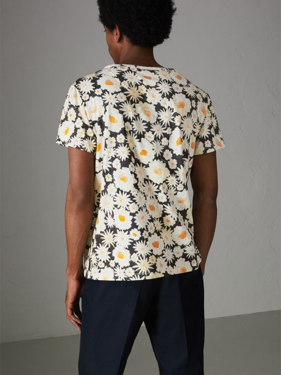 Daisy Print Cotton T-shirt in Black - Men | Burberry Hong Kong - cell image 2