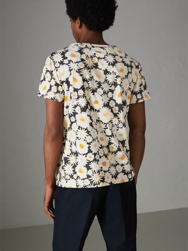 Daisy Print Cotton T-shirt in Black - Men | Burberry - cell image 2