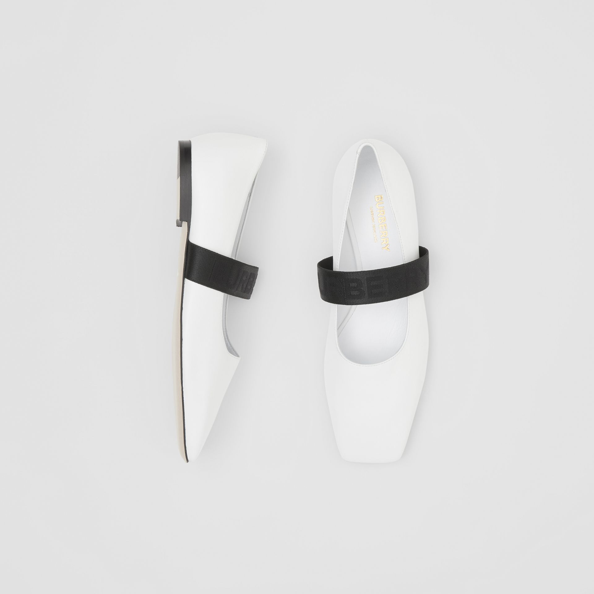 Logo Detail Lambskin Flats in White - Women | Burberry - gallery image 0