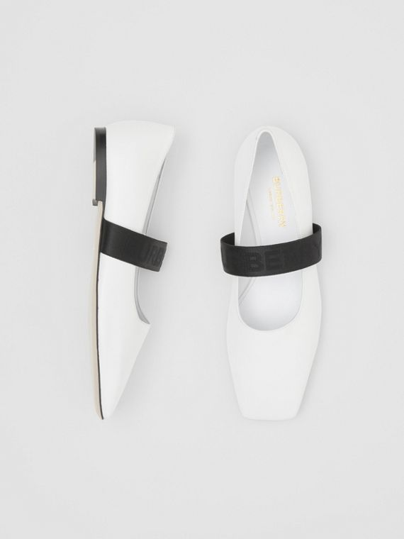 Logo Detail Lambskin Flats in White