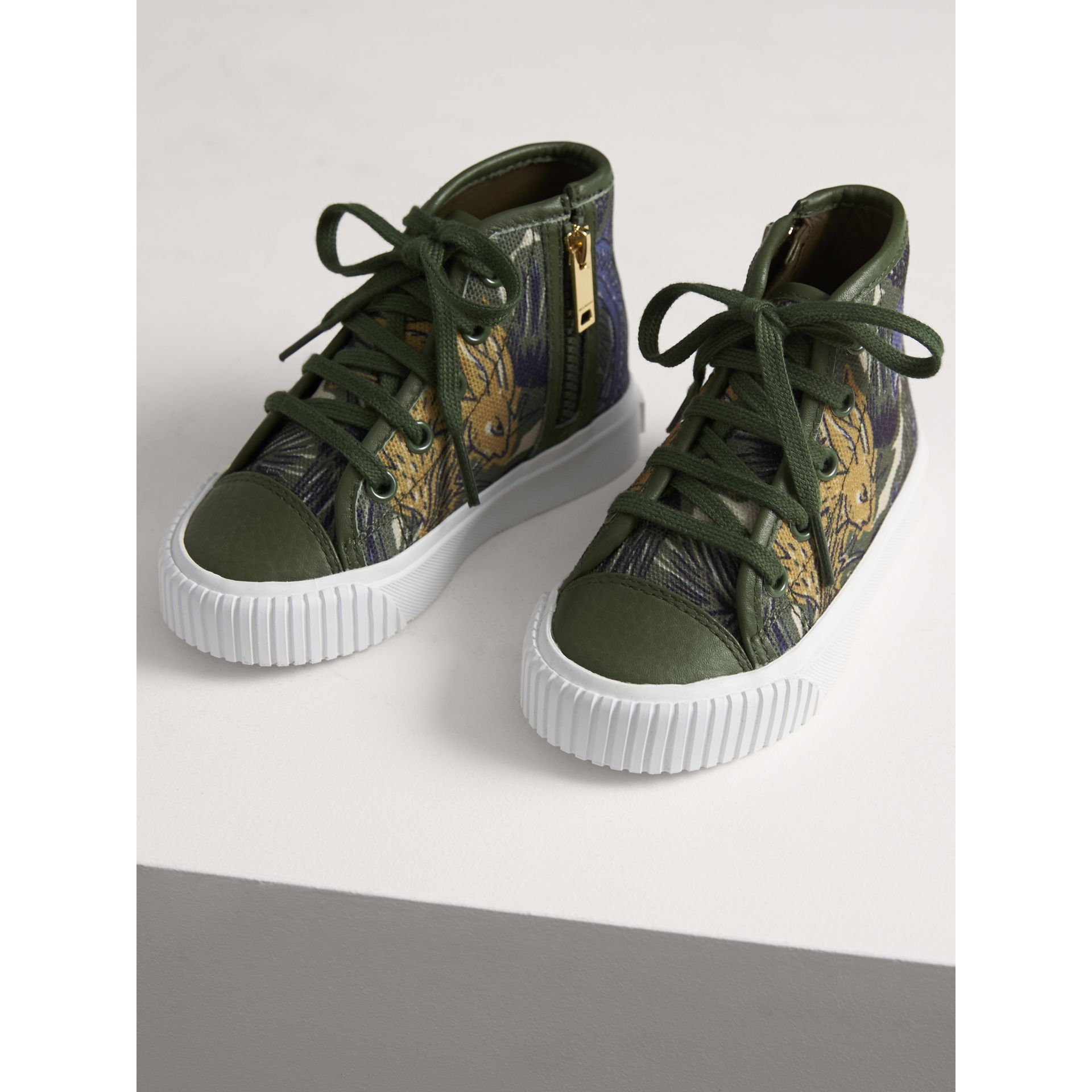 Beasts Print Cotton and Leather High-top Trainers in Clay Green | Burberry - gallery image 3