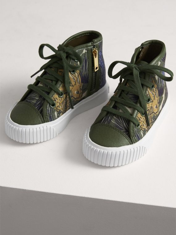 Beasts Print Cotton and Leather High-top Trainers in Clay Green | Burberry United Kingdom - cell image 3