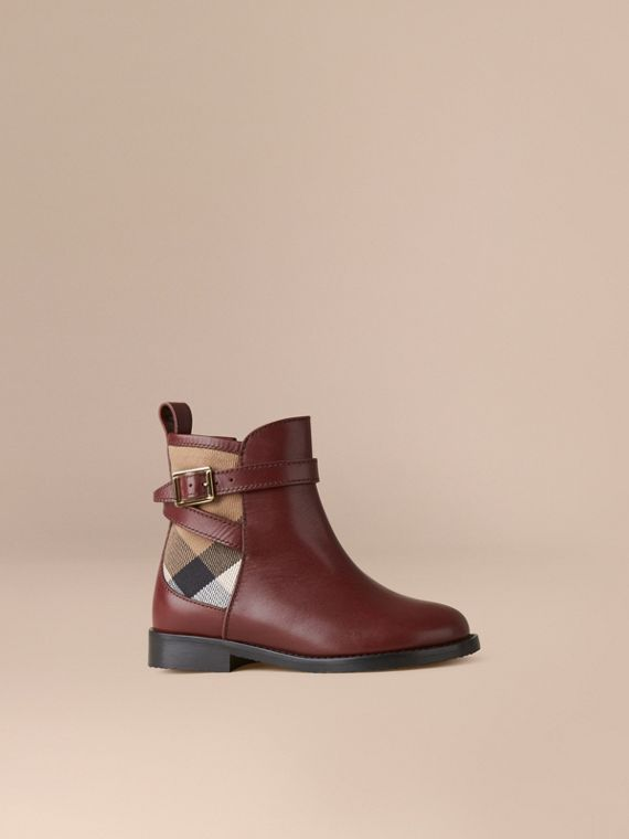 House Check Panel Leather Ankle Boots in Chestnut