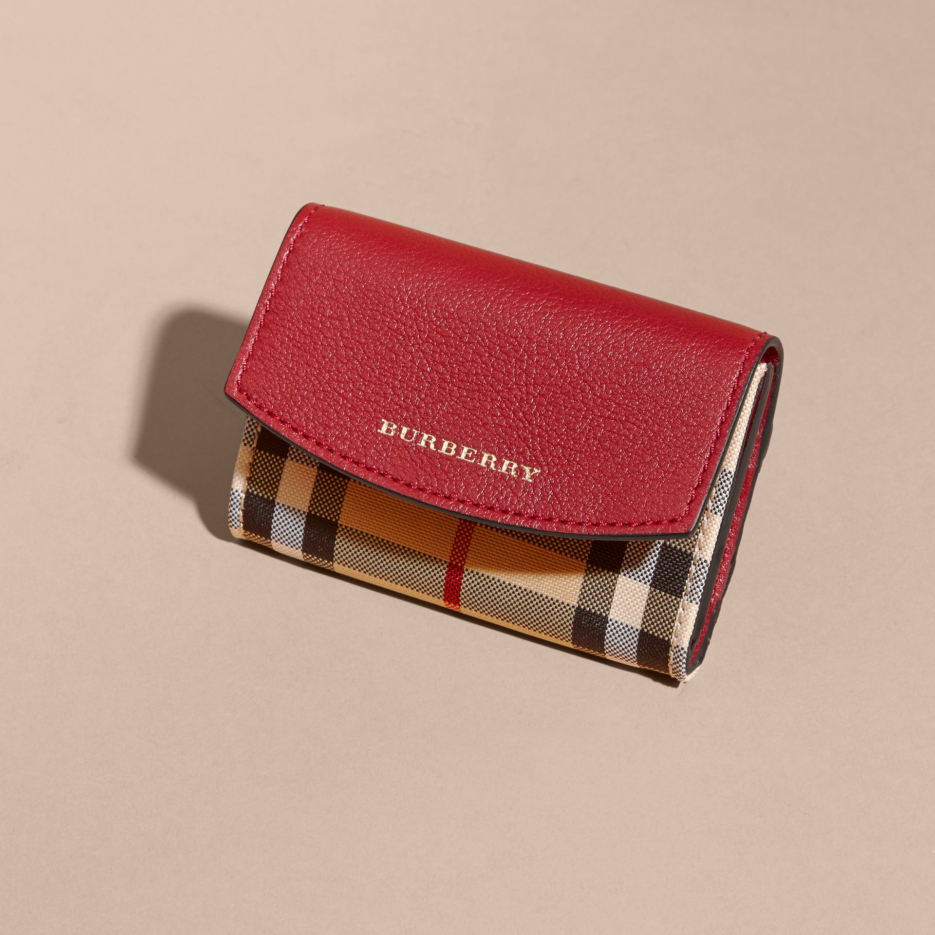 Horseferry Check and Leather Card Case Parade Red - gallery image 3