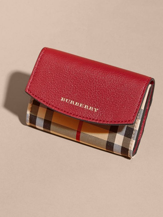Horseferry Check and Leather Card Case in Parade Red - cell image 2