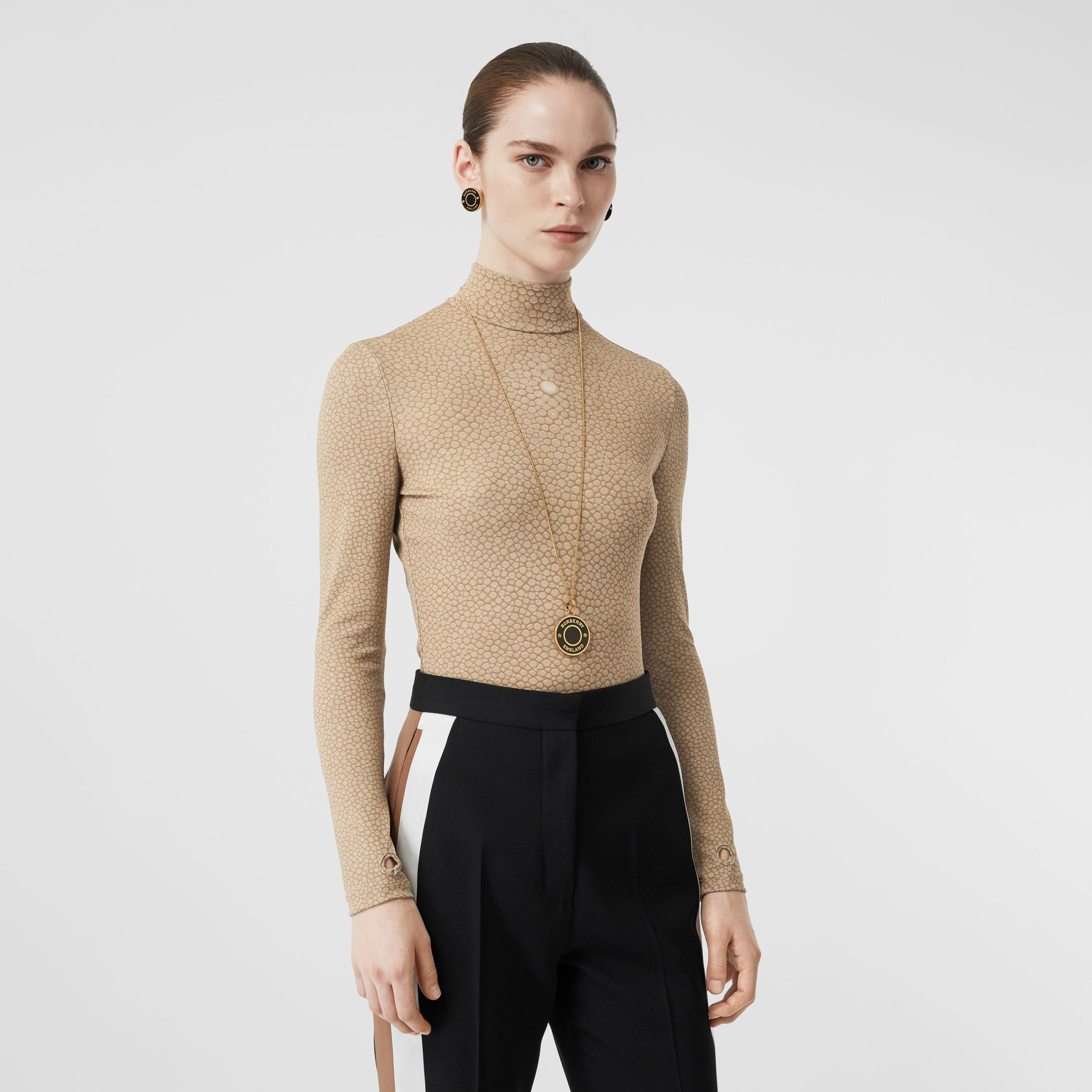 Fish-scale Print Stretch Jersey Turtleneck Top in Light Sand - Women | Burberry - 1