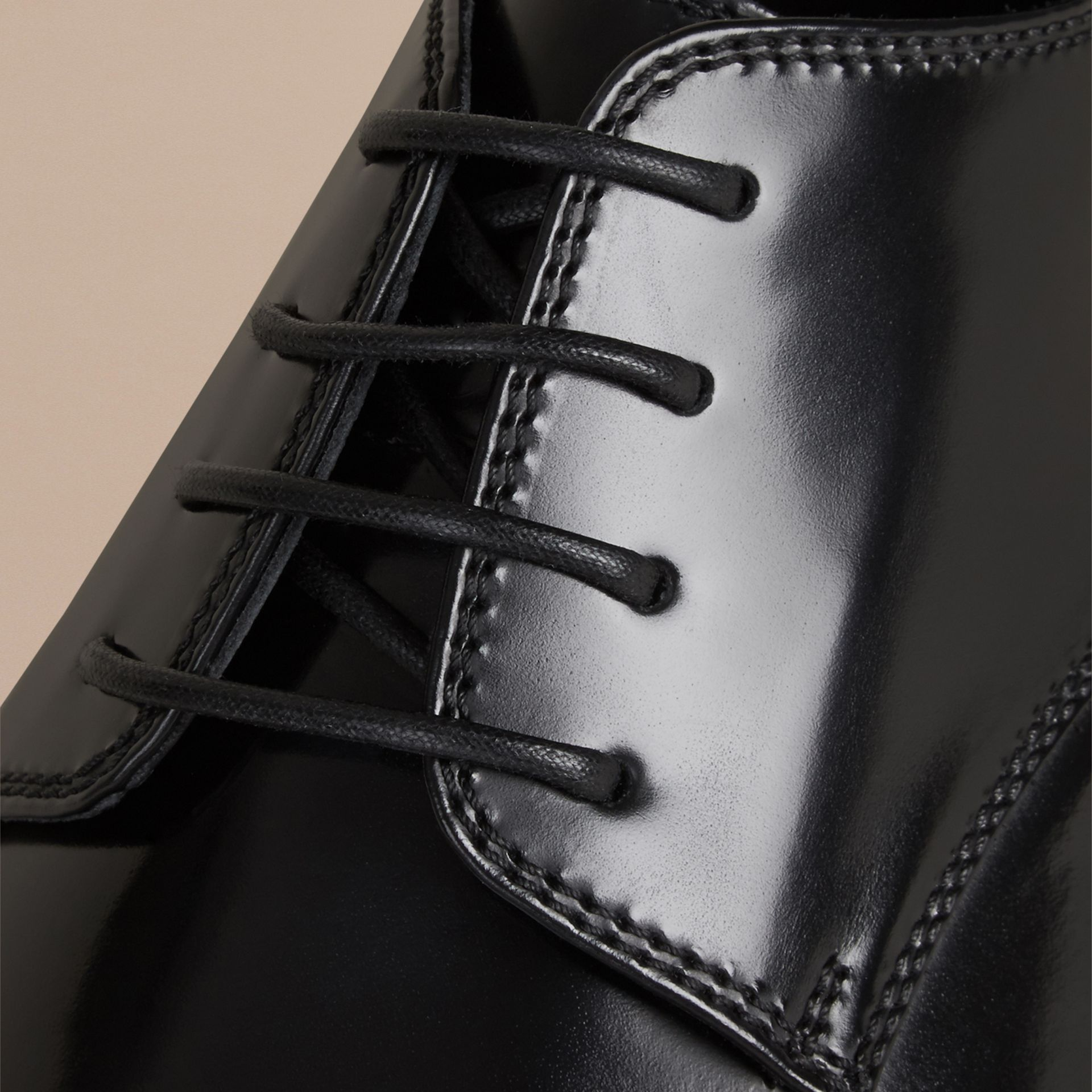 Black Leather Derby Shoes Black - gallery image 2