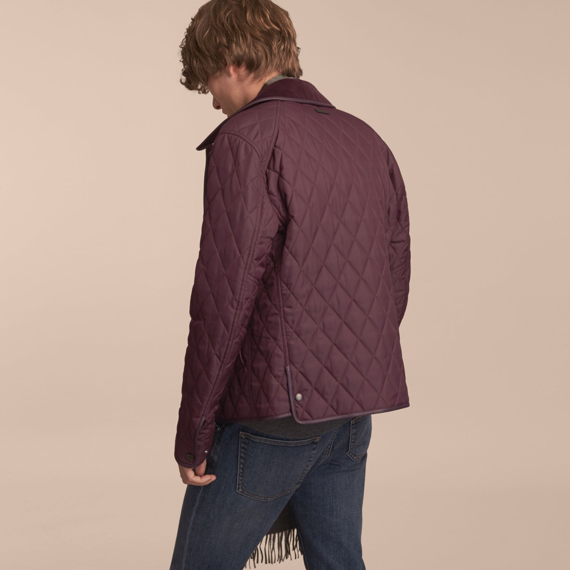 Leather Piping Corduroy Collar Quilted Jacket Claret - gallery image 3