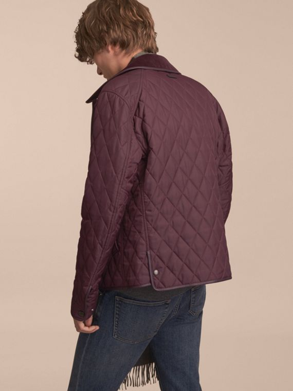 Leather Piping Corduroy Collar Quilted Jacket Claret - cell image 2