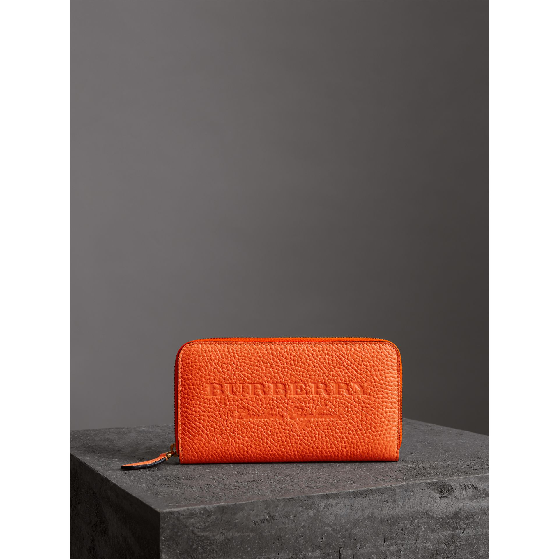 Embossed Leather Ziparound Wallet in Bright Orange - Women | Burberry - gallery image 4