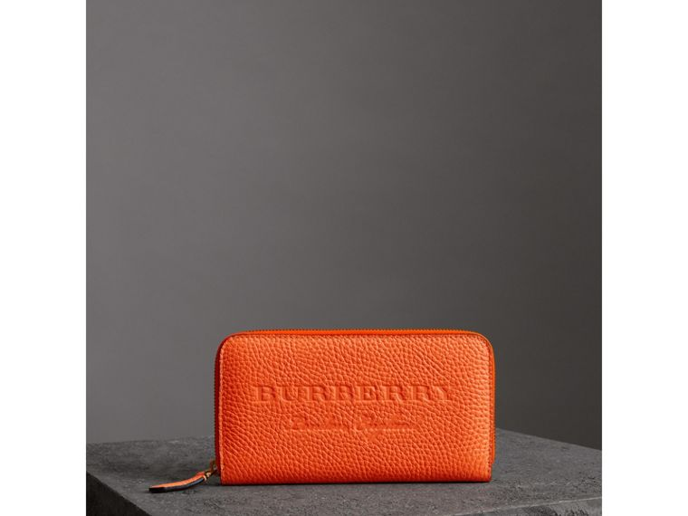 Embossed Leather Ziparound Wallet in Bright Orange - Women | Burberry - cell image 4
