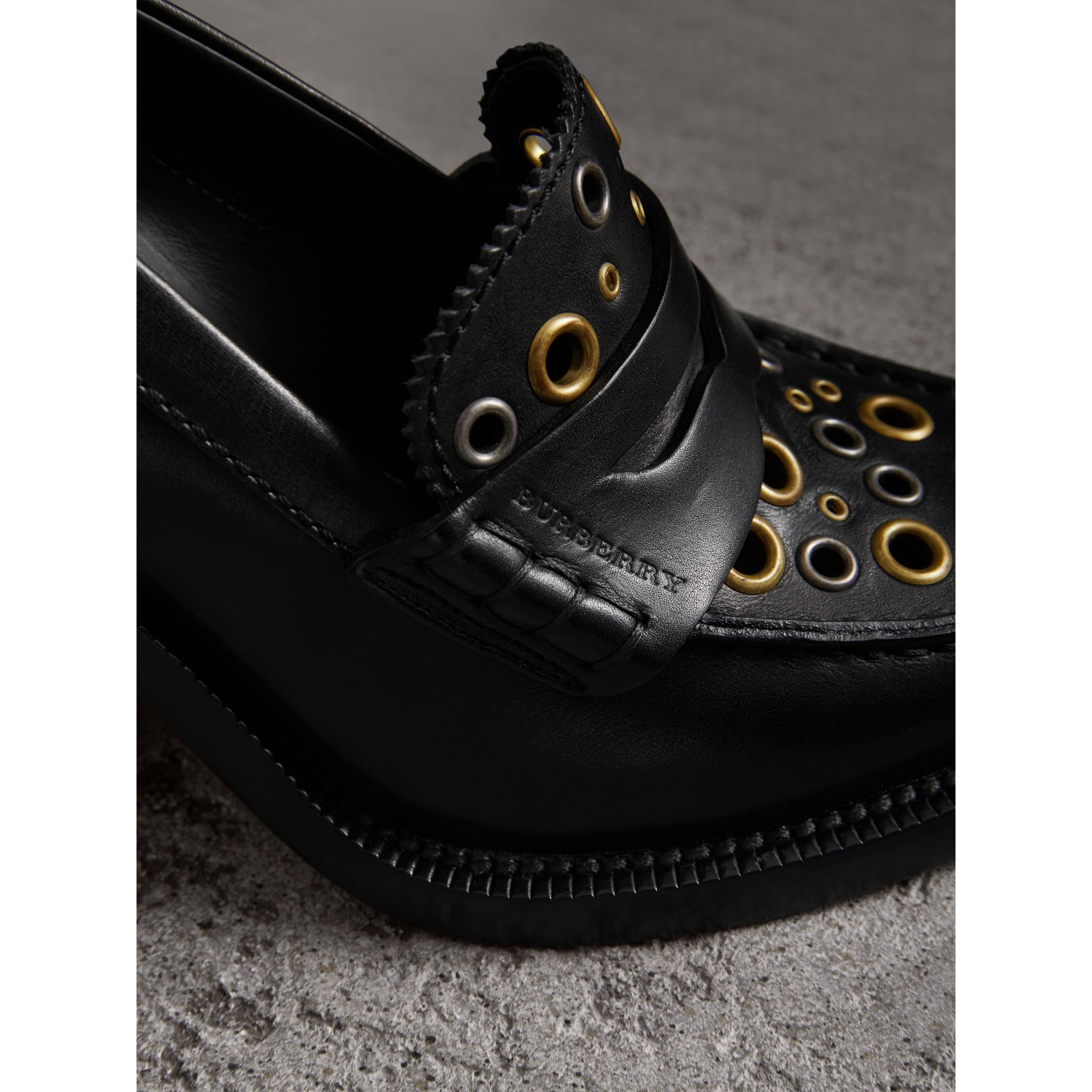 Eyelet Detail Leather Heeled Loafers in Black - Women | Burberry - gallery image 2