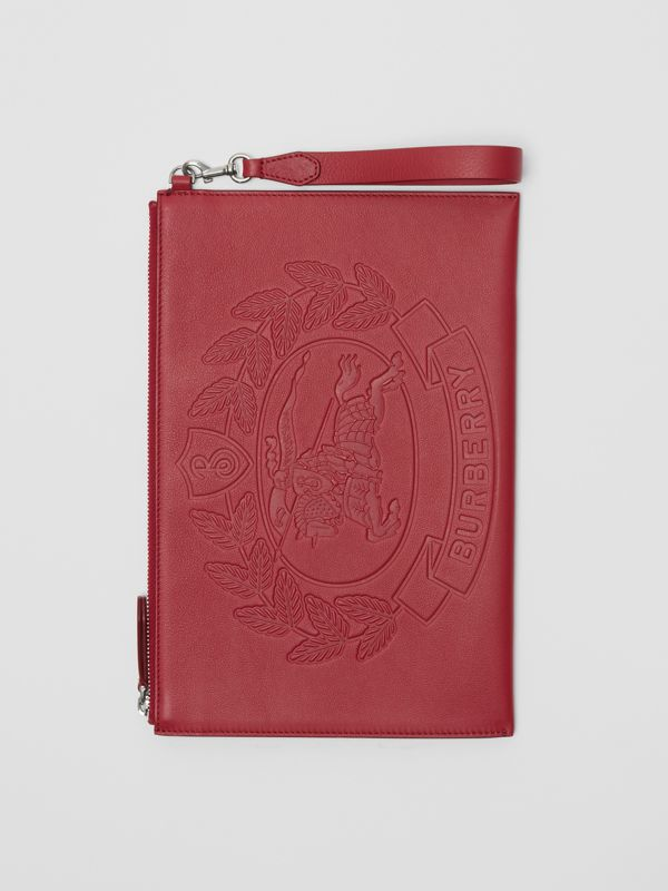 Embossed Crest Leather Zip Pouch in Crimson - Men | Burberry - cell image 3