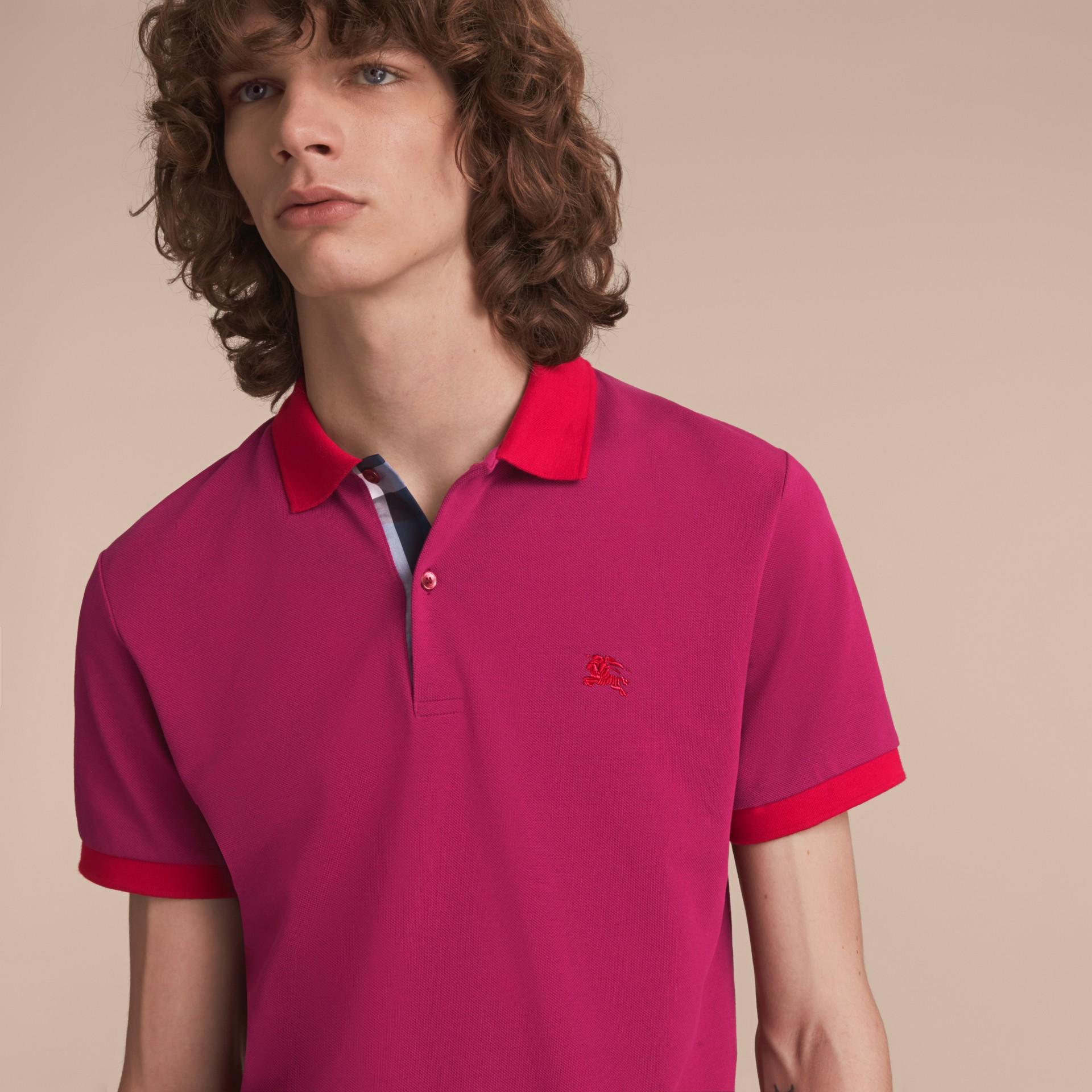 Two-tone Check Placket Cotton Piqué Polo Shirt Raspberry Sorbet - gallery image 5