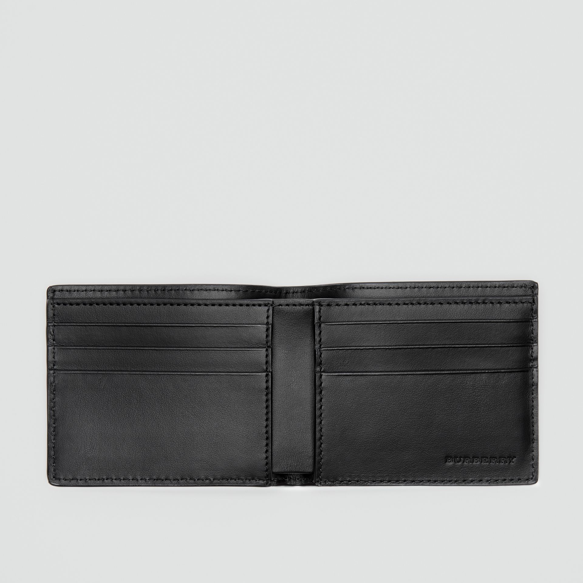 Perforated Logo Leather Bifold Wallet in Black - Men | Burberry - gallery image 2