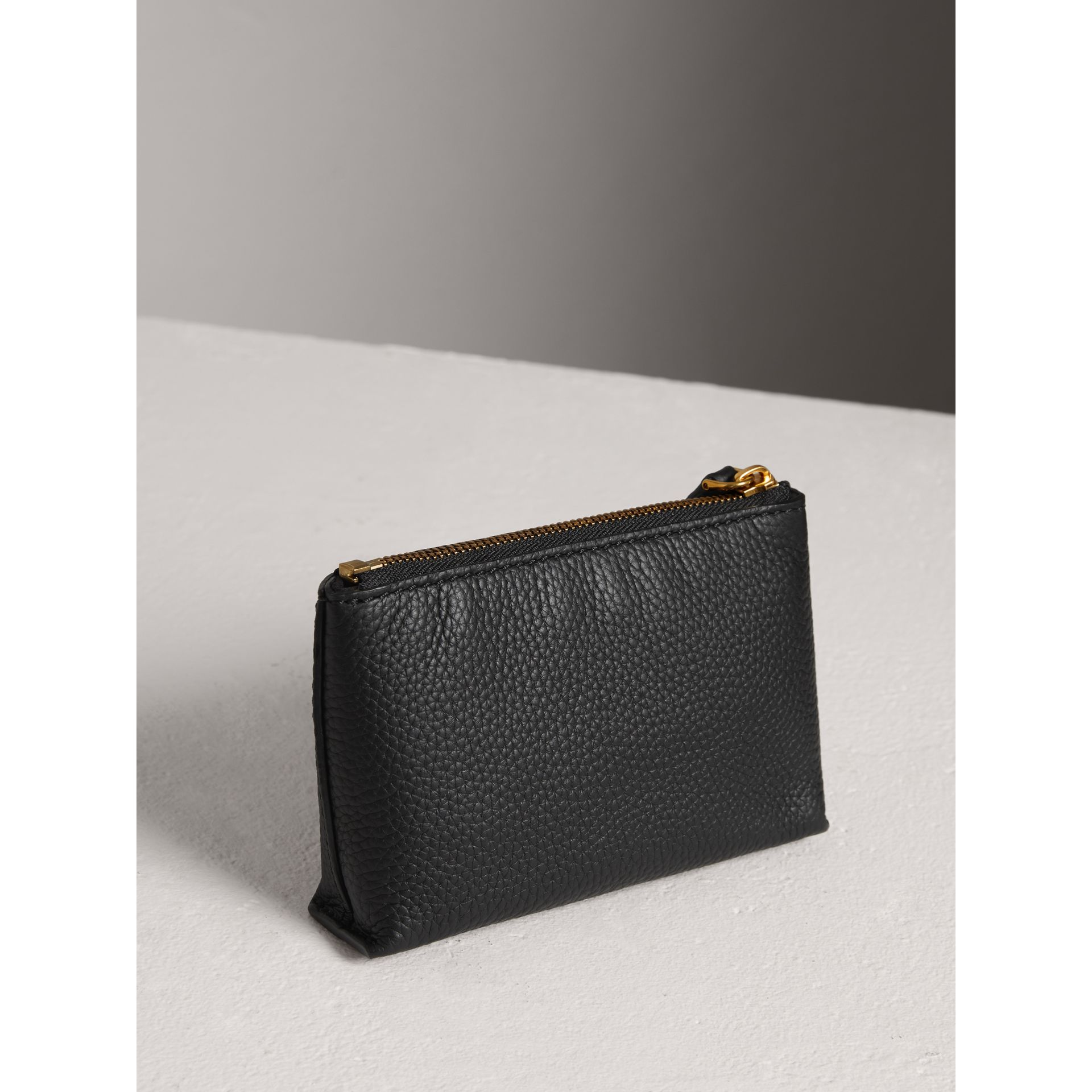 Small Embossed Leather Zip Pouch in Black | Burberry Australia - gallery image 2