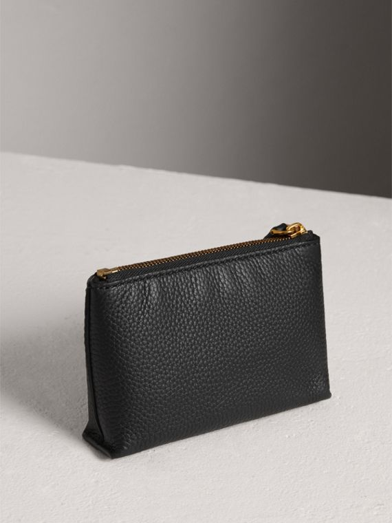 Small Embossed Leather Zip Pouch in Black | Burberry Australia - cell image 2