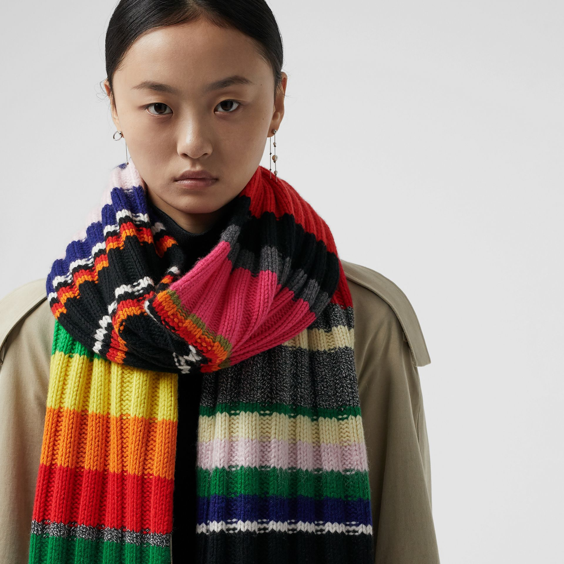 Striped Chunky Knit Cashmere Wool Blend Scarf in Multicolour | Burberry - gallery image 5