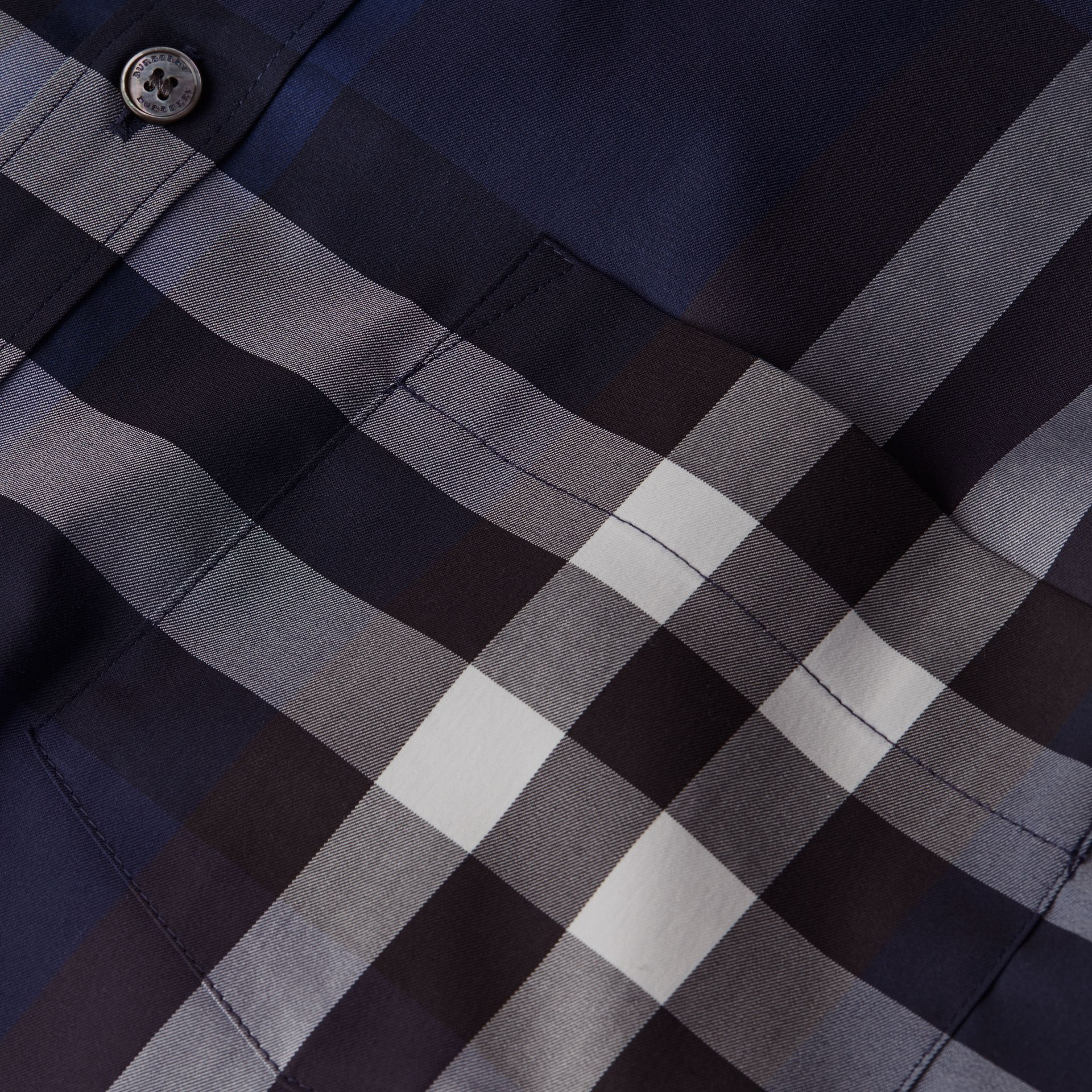 Indigo blue Check Stretch Cotton Shirt Indigo Blue - gallery image 2