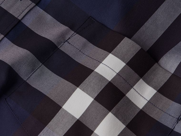 Indigo blue Check Stretch Cotton Shirt Indigo Blue - cell image 1
