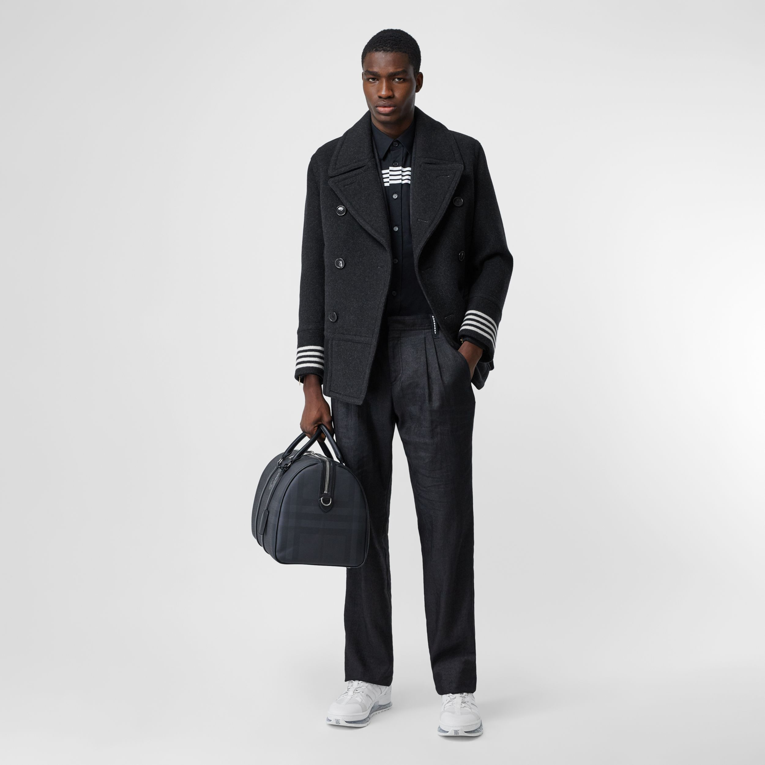 Striped Cuff Wool Pea Coat in Black - Men | Burberry - 1