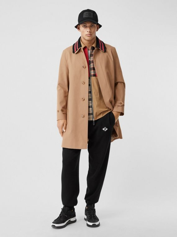 Detachable Striped Collar Cotton Car Coat in Warm Walnut