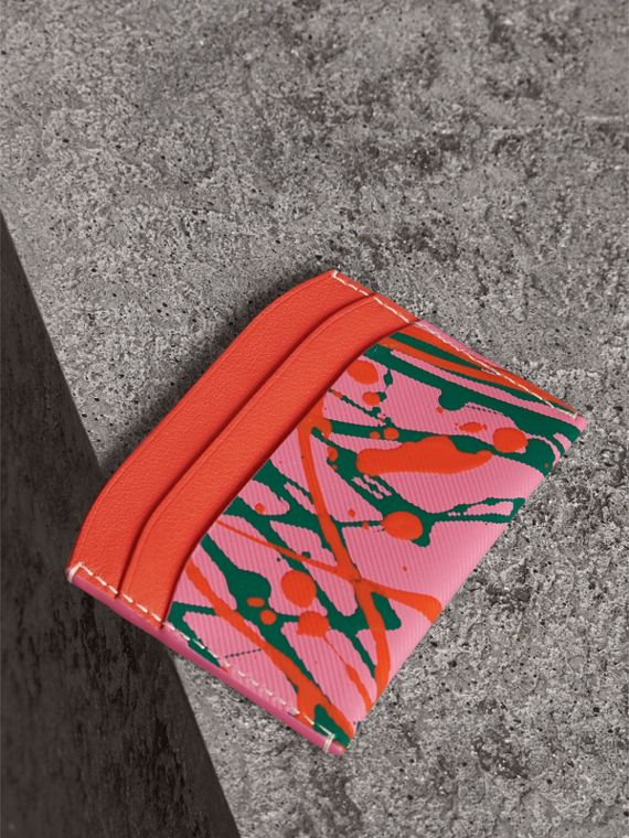 Splash Trench Leather Card Case in Rose Pink/orange Red | Burberry - cell image 2