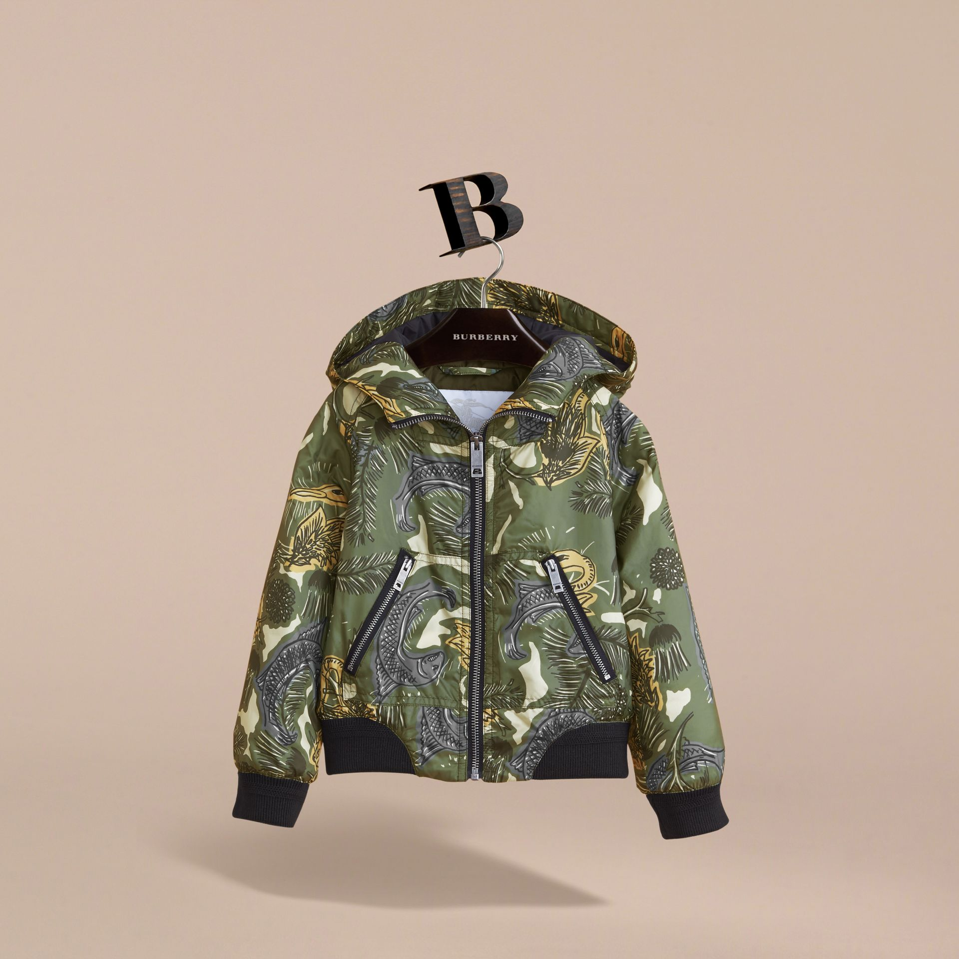 Beasts Print Hooded Bomber Jacket in Sage Green | Burberry - gallery image 3