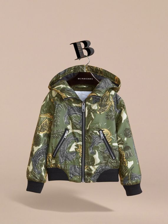 Beasts Print Hooded Bomber Jacket in Sage Green - Boy | Burberry - cell image 2