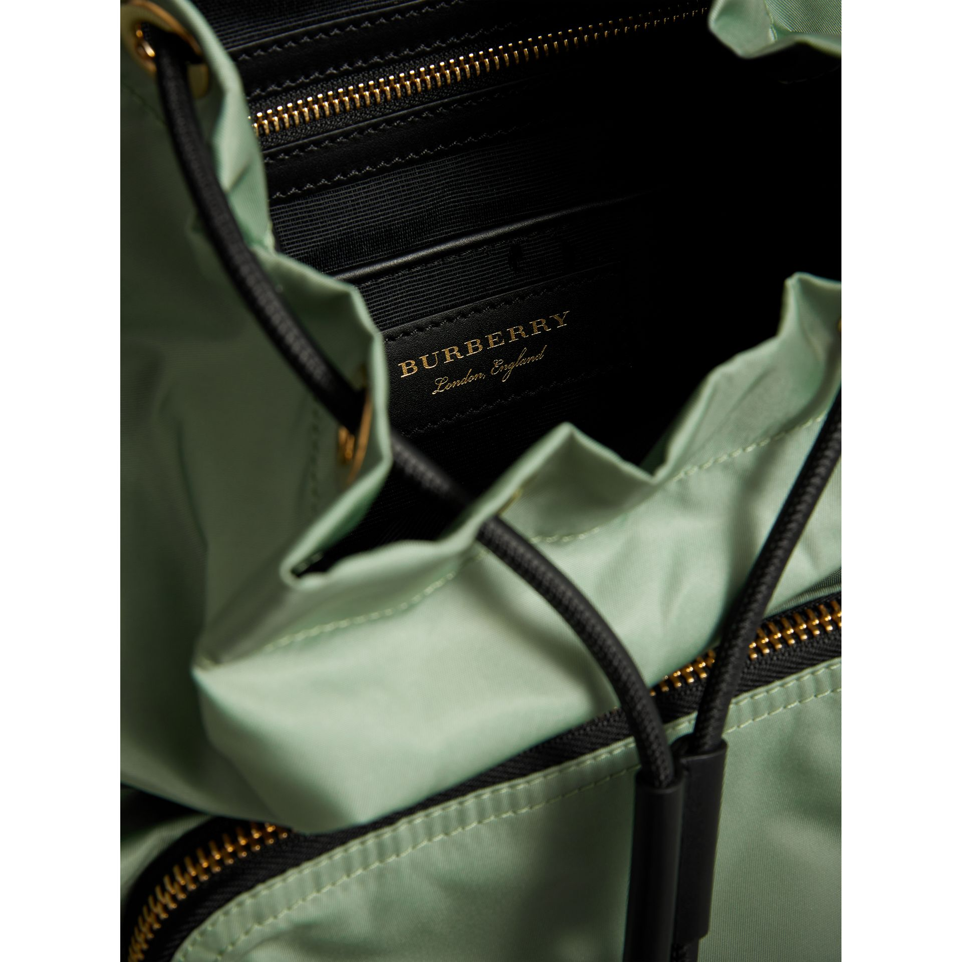 The Medium Rucksack in Technical Nylon and Leather in Apple Green - Women | Burberry - gallery image 5