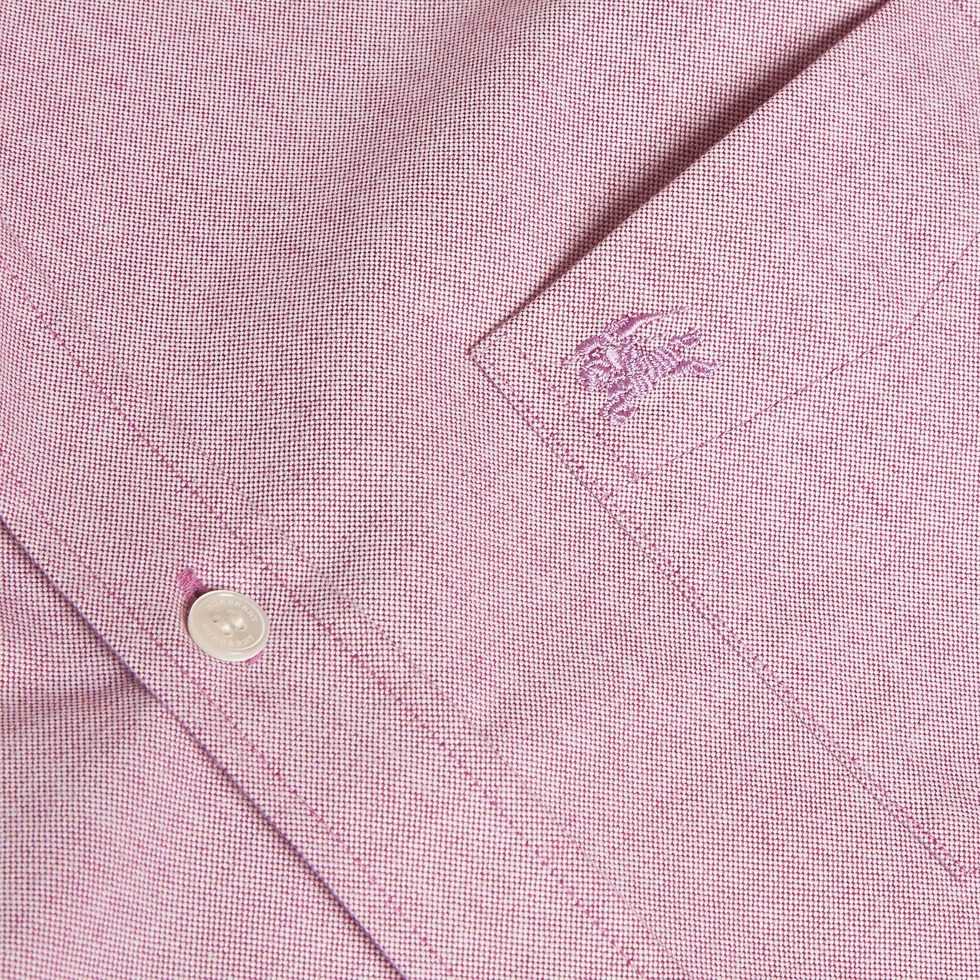 Check Detail Cotton Oxford Shirt in Bright Rose - Men | Burberry - gallery image 2