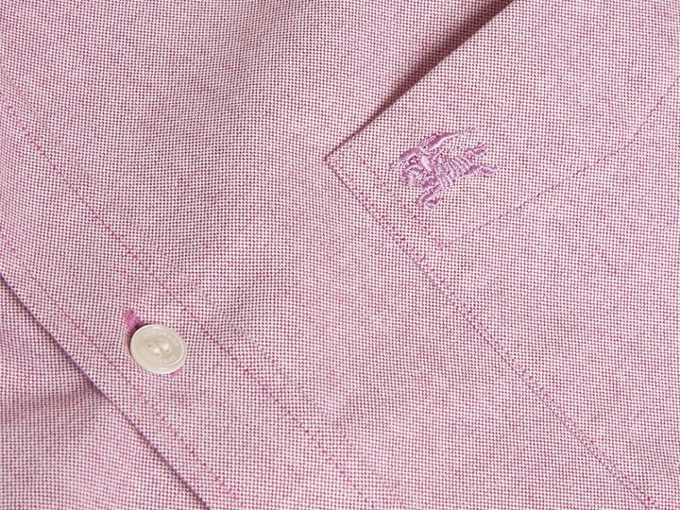 Check Detail Cotton Oxford Shirt in Bright Rose - Men | Burberry - cell image 1