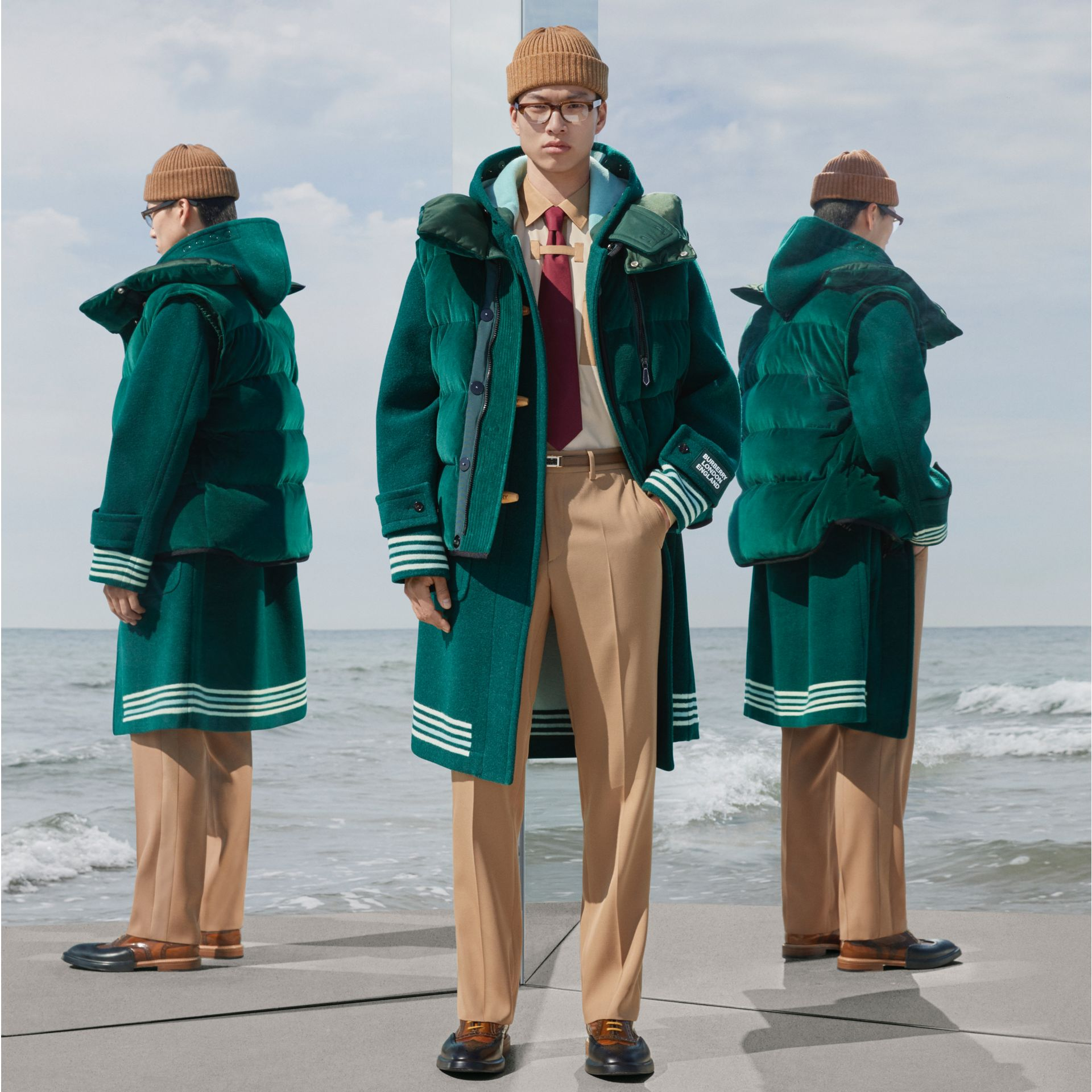 Stripe Detail Double-faced Wool Duffle Coat in Dark Pine Green - Men | Burberry - gallery image 0