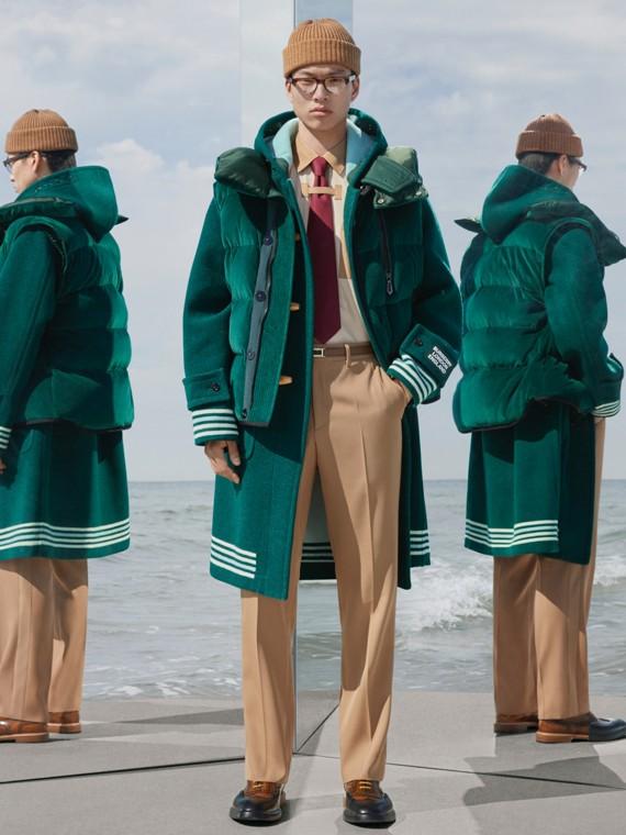 Montgomery in lana double face con dettaglio a righe (Verde Pino Scuro)