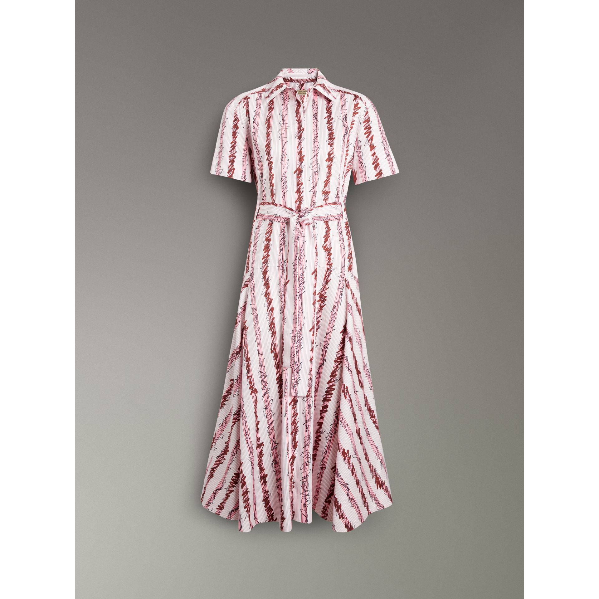 Scribble Stripe Cotton Shirt Dress in Light Pink - Women | Burberry - gallery image 3