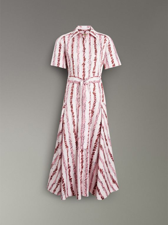 Scribble Stripe Cotton Shirt Dress in Light Pink - Women | Burberry - cell image 3