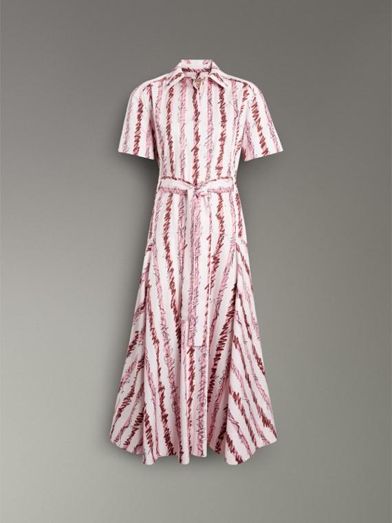스크리블 스트라이프 코튼 셔츠 드레스 (라이트 핑크) - 여성 | Burberry - cell image 3