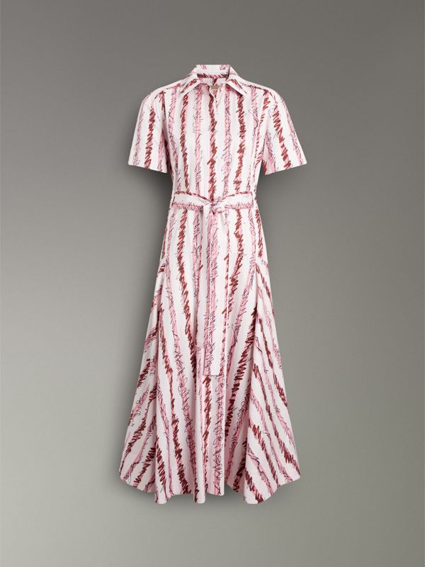 Scribble Stripe Cotton Shirt Dress in Light Pink - Women | Burberry United States - cell image 3