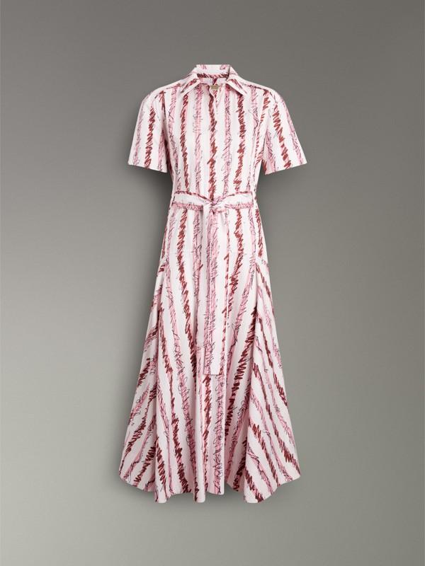 Платье-рубашка в заштрихованную полоску (Светло-розовый) - Для женщин | Burberry - cell image 3