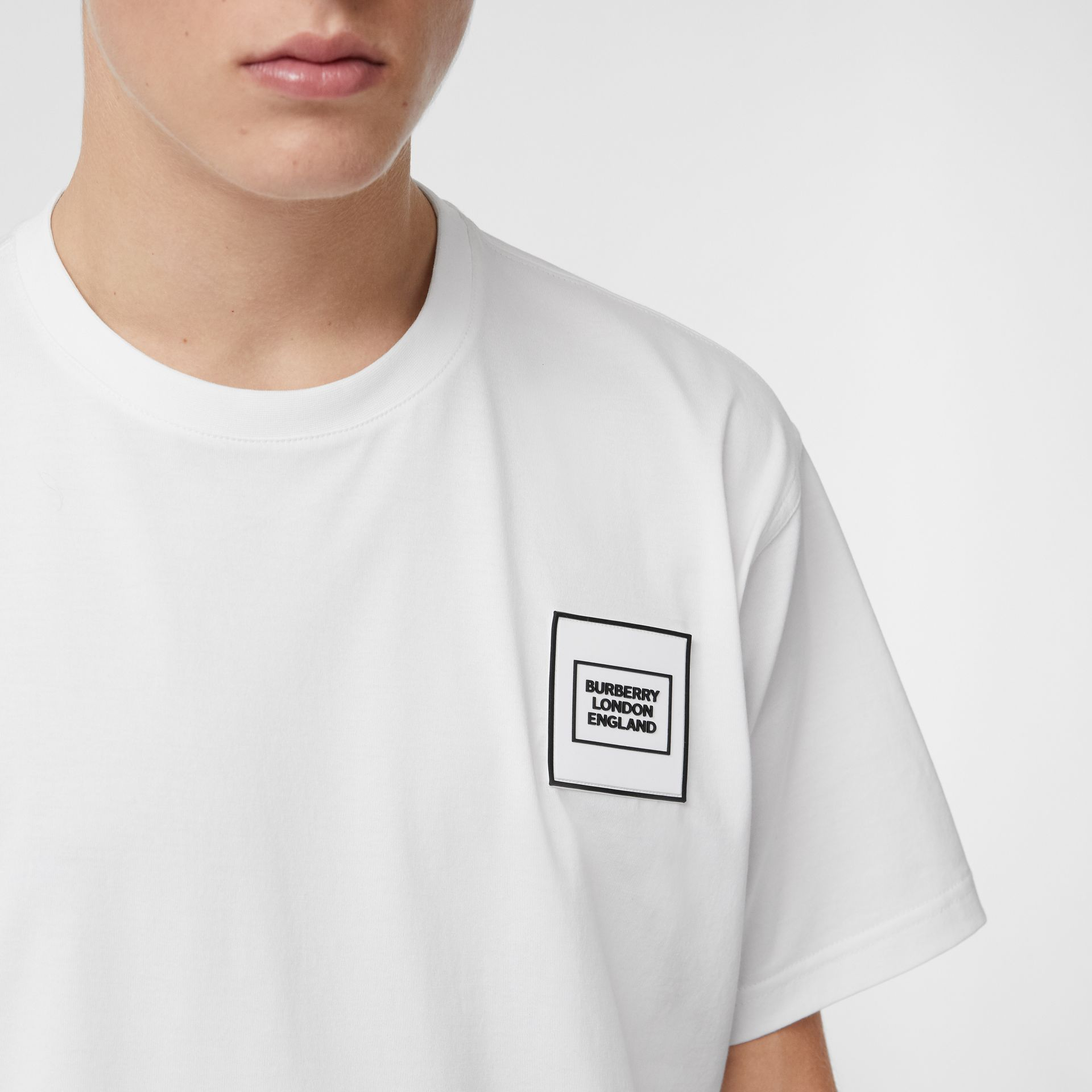 Logo Appliqué Cotton T-shirt in White - Men | Burberry United Kingdom - gallery image 1