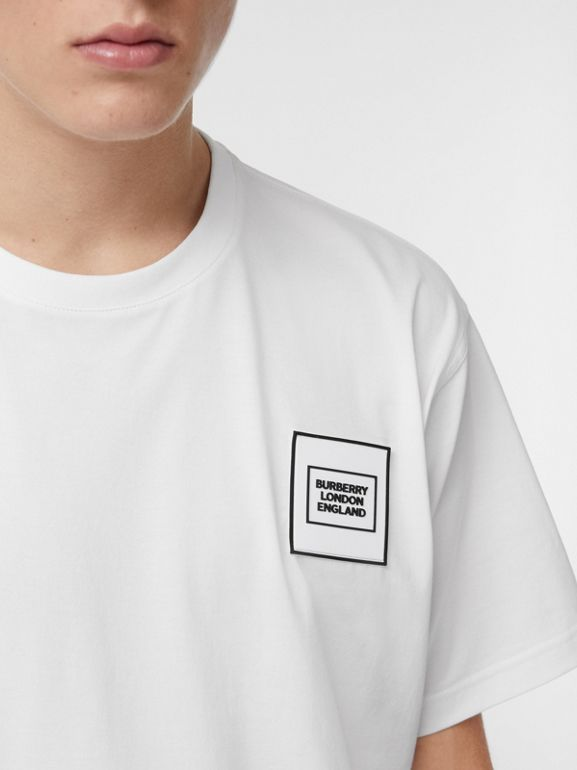 Logo Appliqué Cotton T-shirt in White - Men | Burberry United Kingdom - cell image 1