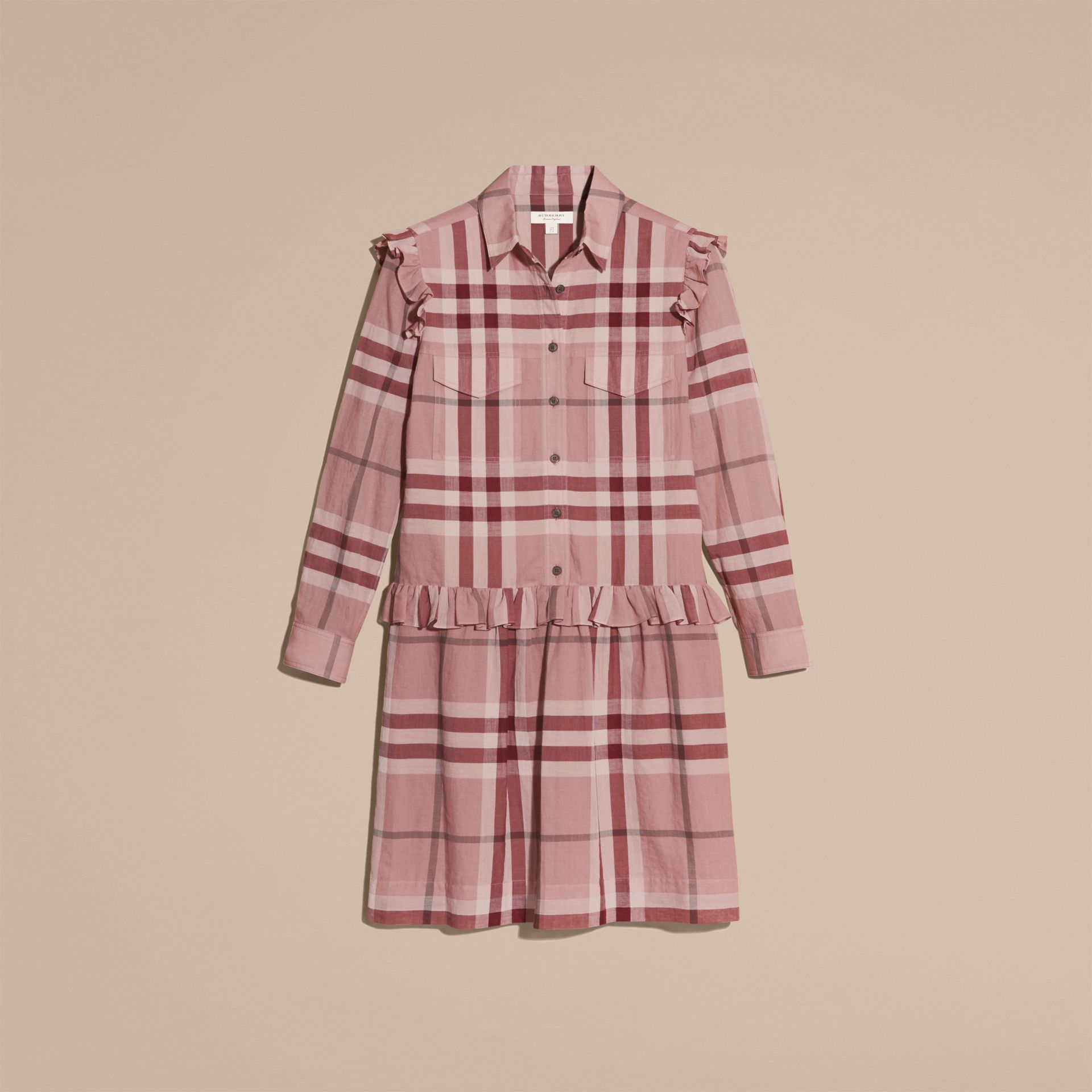 Ruffle Detail Cotton Check Shirt Dress in Antique Pink - gallery image 4