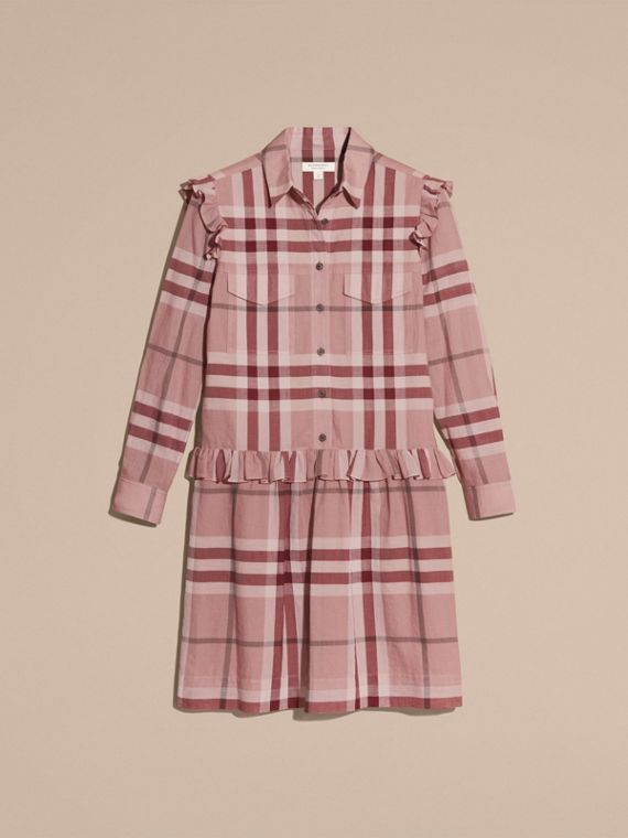 Ruffle Detail Cotton Check Shirt Dress in Antique Pink - cell image 3