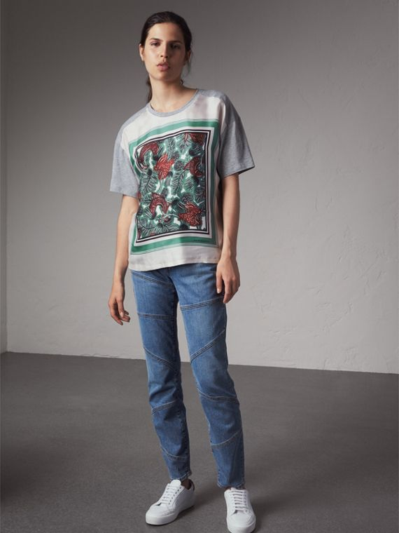 Beasts Print Silk Panel Cotton T-shirt in Pale Grey Melange