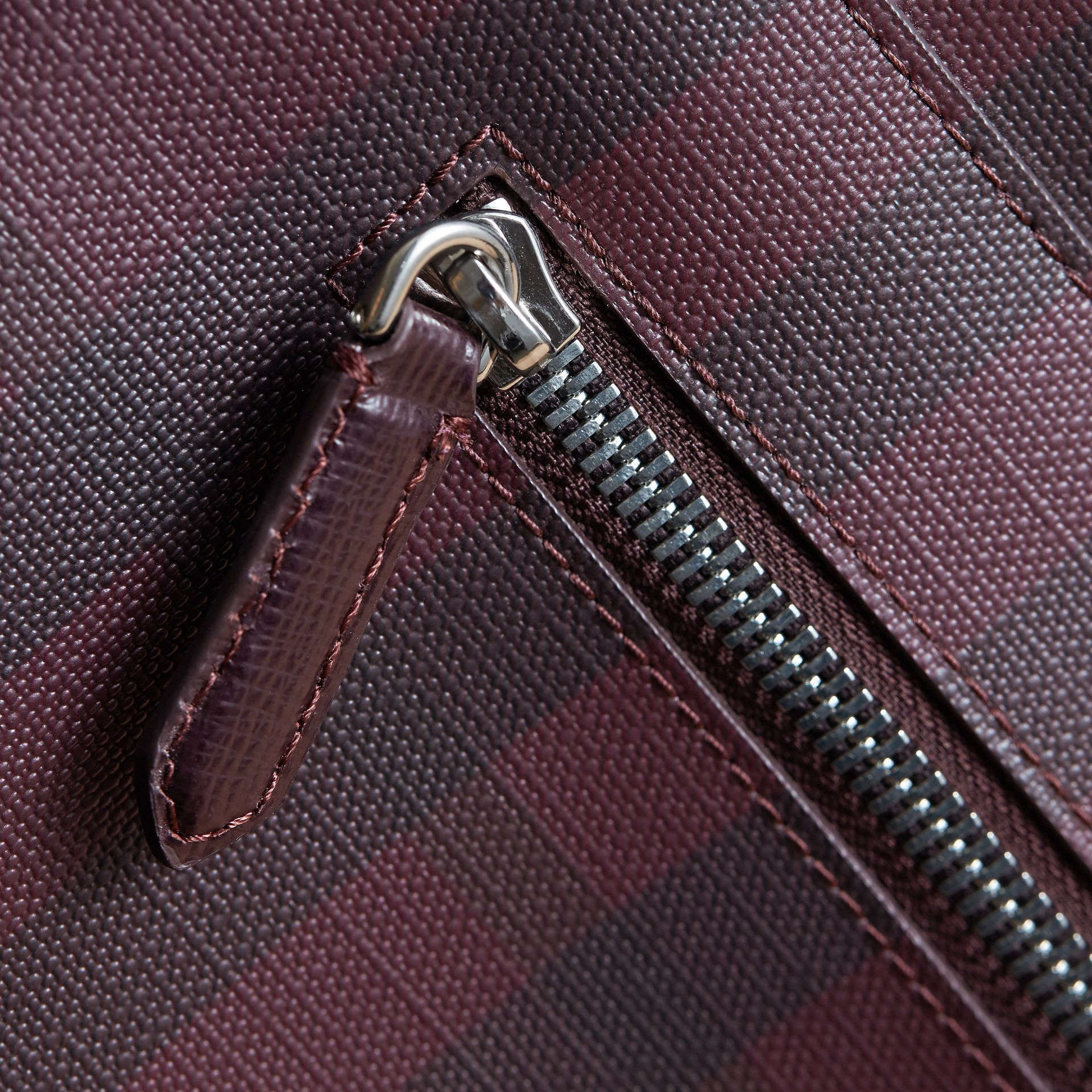 Medium Leather Trim London Check Messenger Bag in Deep Claret - Men | Burberry - gallery image 6